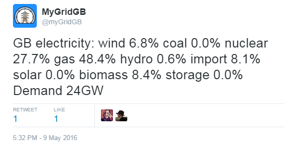 This Tweet from May shows all of our coal power stations being turned off for a brief period