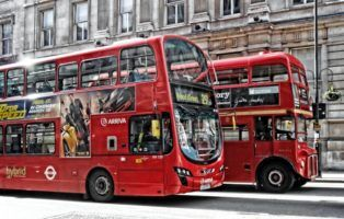 London Buses on Whitehall by DncnH via Flickr
