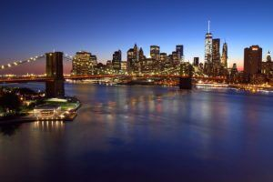 Brooklyn Bridge, Downtown Manhattan, and One World Trade Center, blue hour by John Cunniff via Flickr