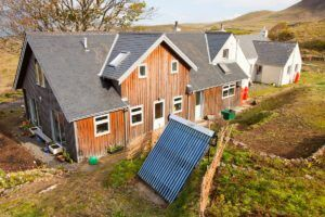 Solar thermal panel for heating water on a house at Cleadale on