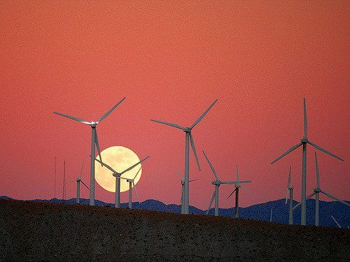 Moon Rise behind the San Gorgonio Pass Wind Farm by Chuck Coker via flickr
