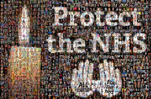 Photo mosaic for the NHS vigil by trades union congress via flickr