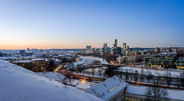 Winter cityscape of Vilnius by Mantas Volungevicius via flickr