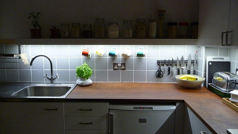 sustainable lighting in kitchen