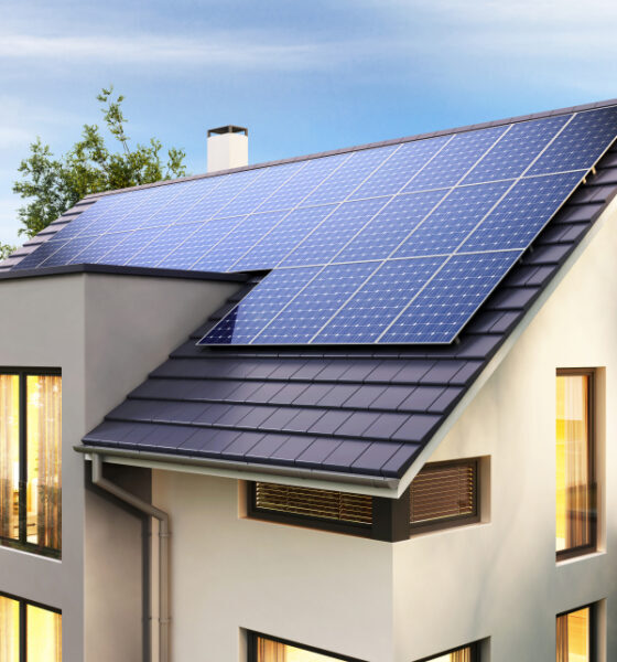 setting up solar energy panels at home
