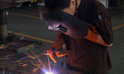eco-friendly welding as a woman