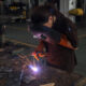 eco-friendly welding as a woman