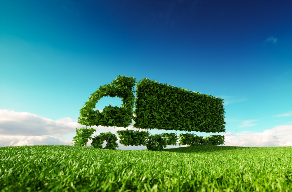 Eco,Friendly,Transportation,Concept.,3d,Rendering,Of,Green,Green,Truck